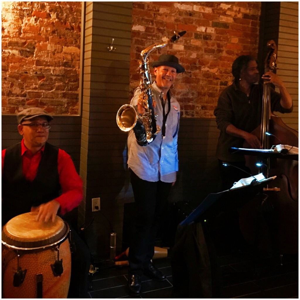 Wister BYOB - Mélange Jazz Collective, Bert Harris, upright bass; Laurent Bass, tenor and soprano sax; Robert Morales, congas.